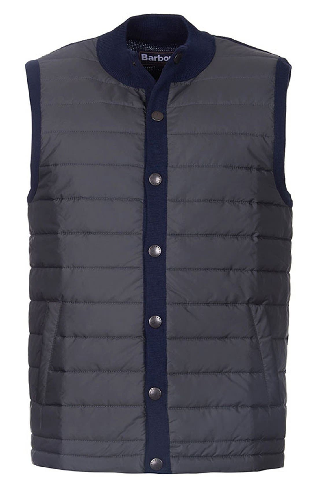 'Essential' Tailored Fit Mixed Media Vest,                             Alternate thumbnail 4, color,                             Navy