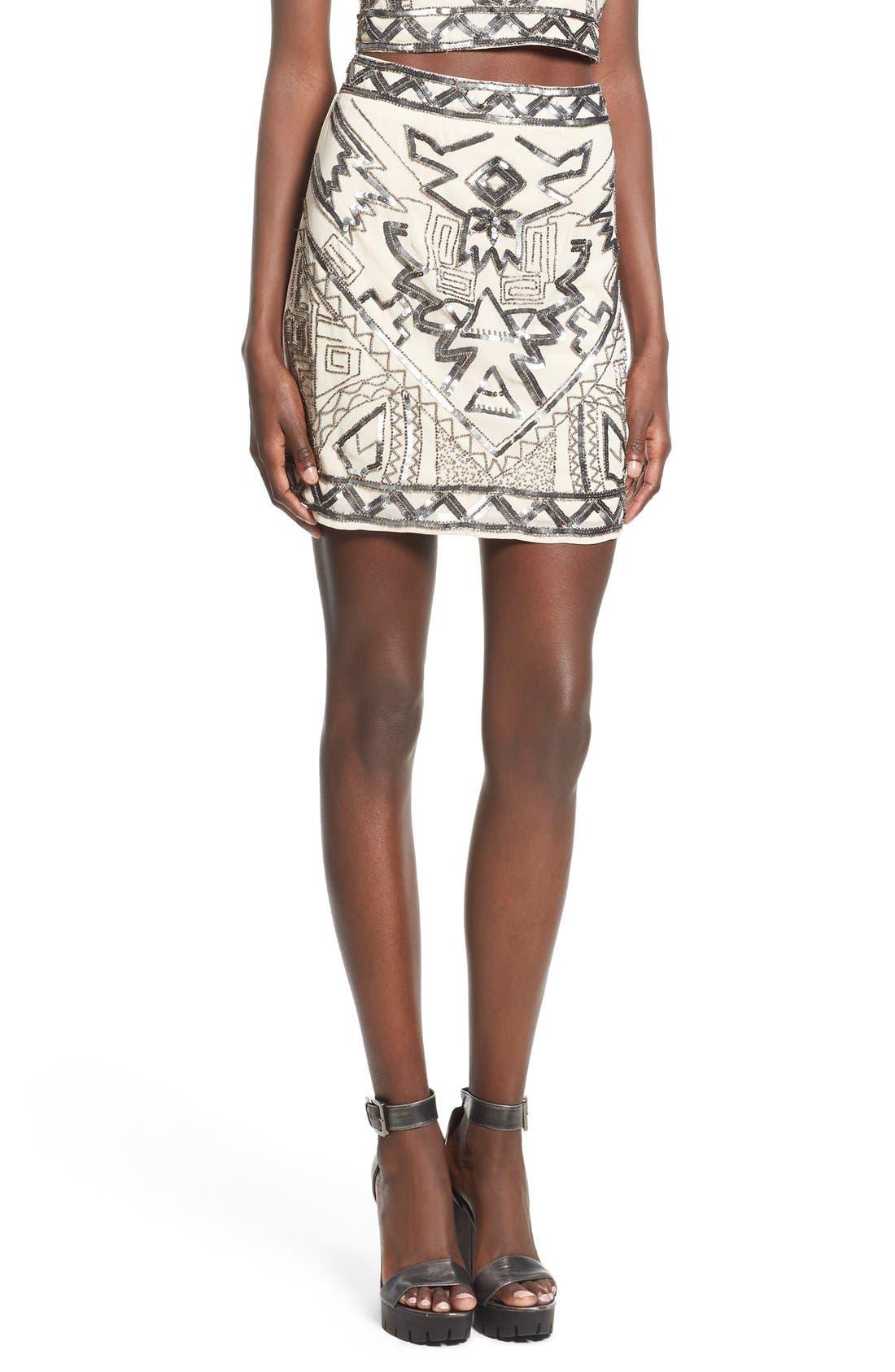 Embellished Miniskirt,                         Main,                         color, Silver/ Nude