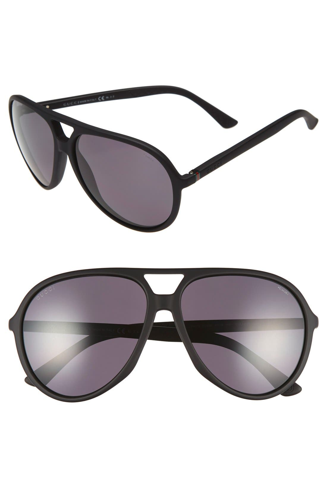 Alternate Image 1 Selected - Gucci 61mm Aviator Sunglasses