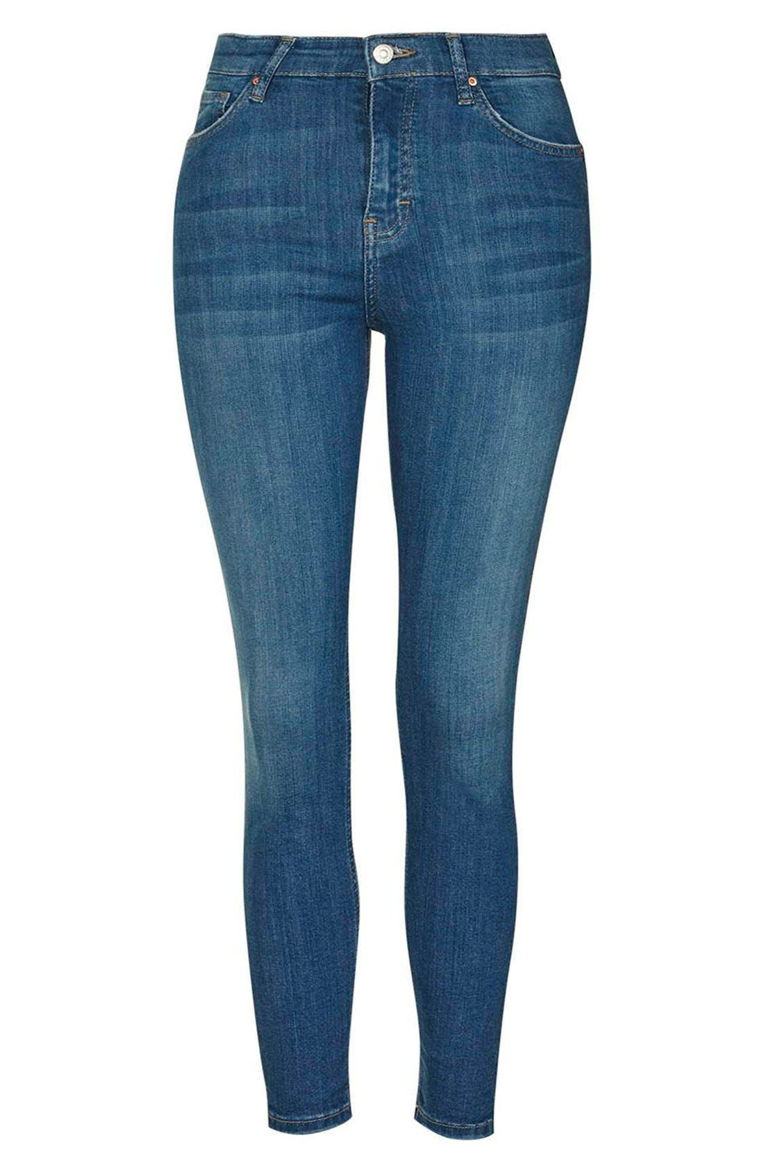 'Jamie' High Waist Ankle Skinny Jeans,                             Alternate thumbnail 4, color,                             Blue