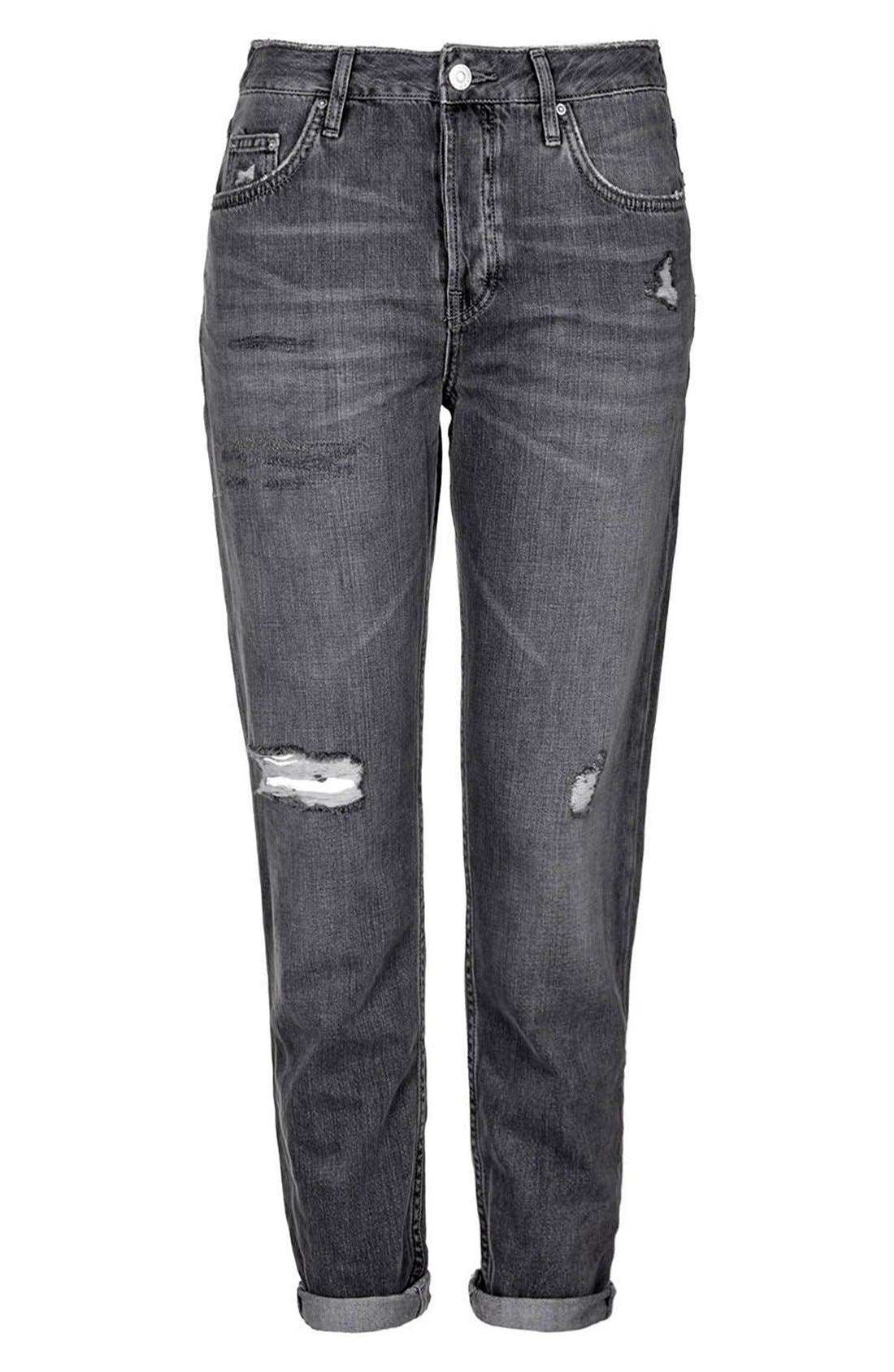 Alternate Image 4  - Topshop Moto 'Hayden' Ripped Boyfriend Jeans (Petite)