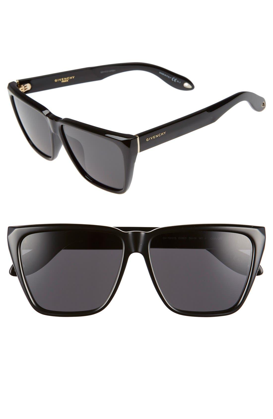 '7002/S' 58mm Sunglasses,                         Main,                         color, Shiny Black