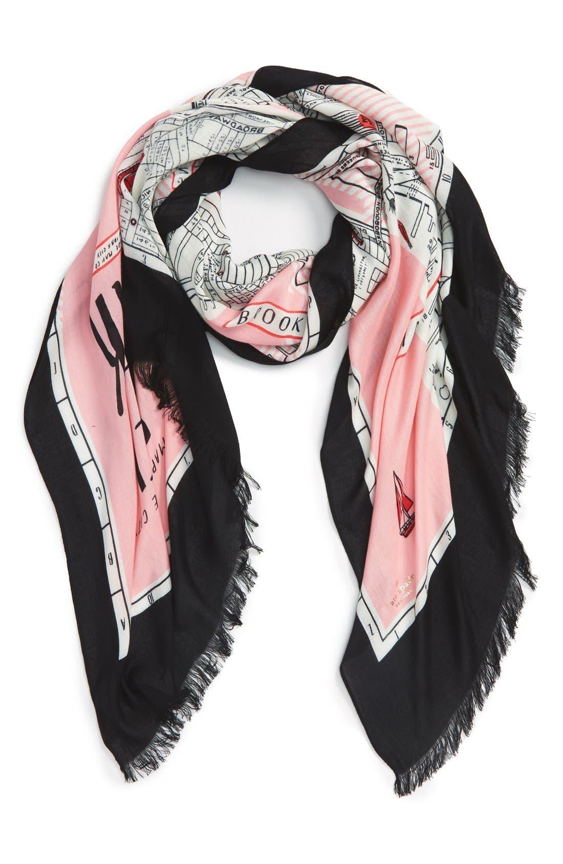 new york map print scarf,                         Main,                         color, Pink Sorbet