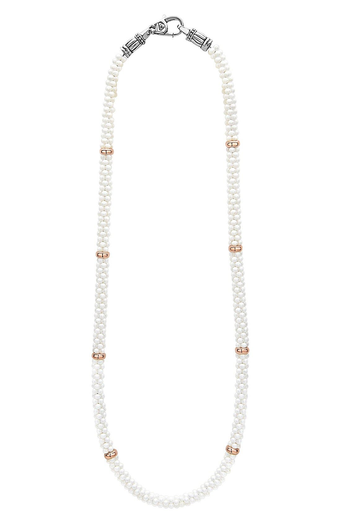 'White Caviar' 5mm Beaded Station Necklace,                             Main thumbnail 1, color,                             White Caviar/ Rose Gold