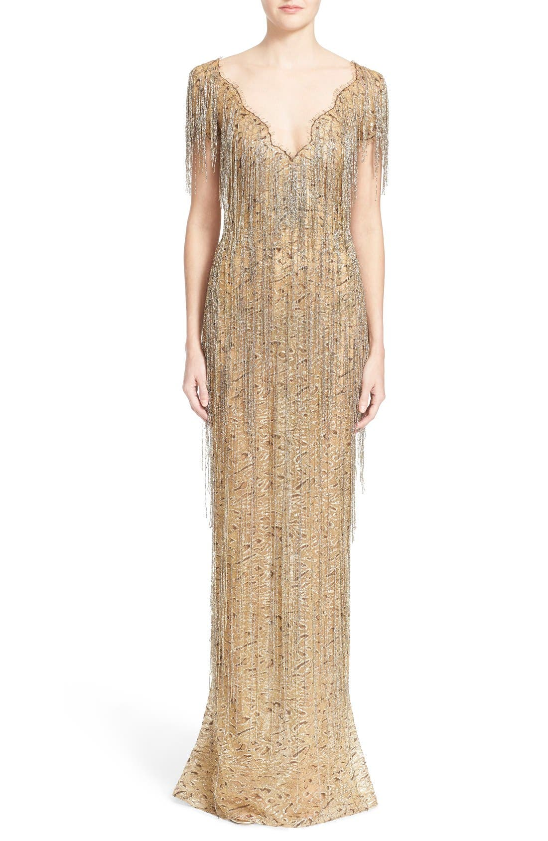 Alternate Image 1 Selected - Marchesa Bugle Bead Fringe Leopard Lace Column Gown