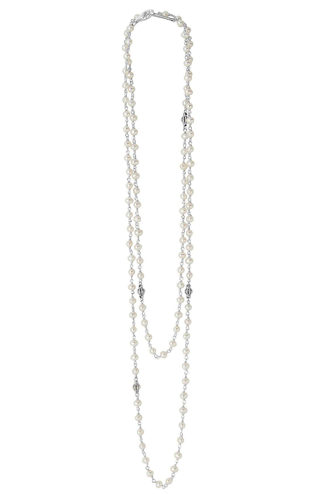 'Luna' Long Pearl Necklace,                         Main,                         color, Silver/ Pearl