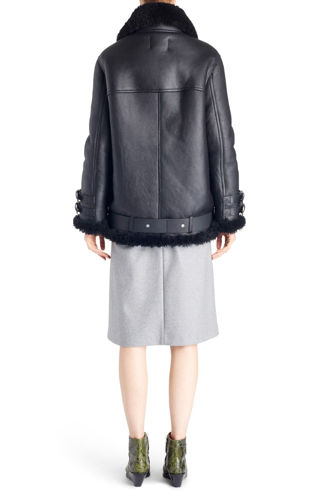 Alternate Image 2  - ACNE Studios Velocite Oversized Genuine Shearling Moto Jacket