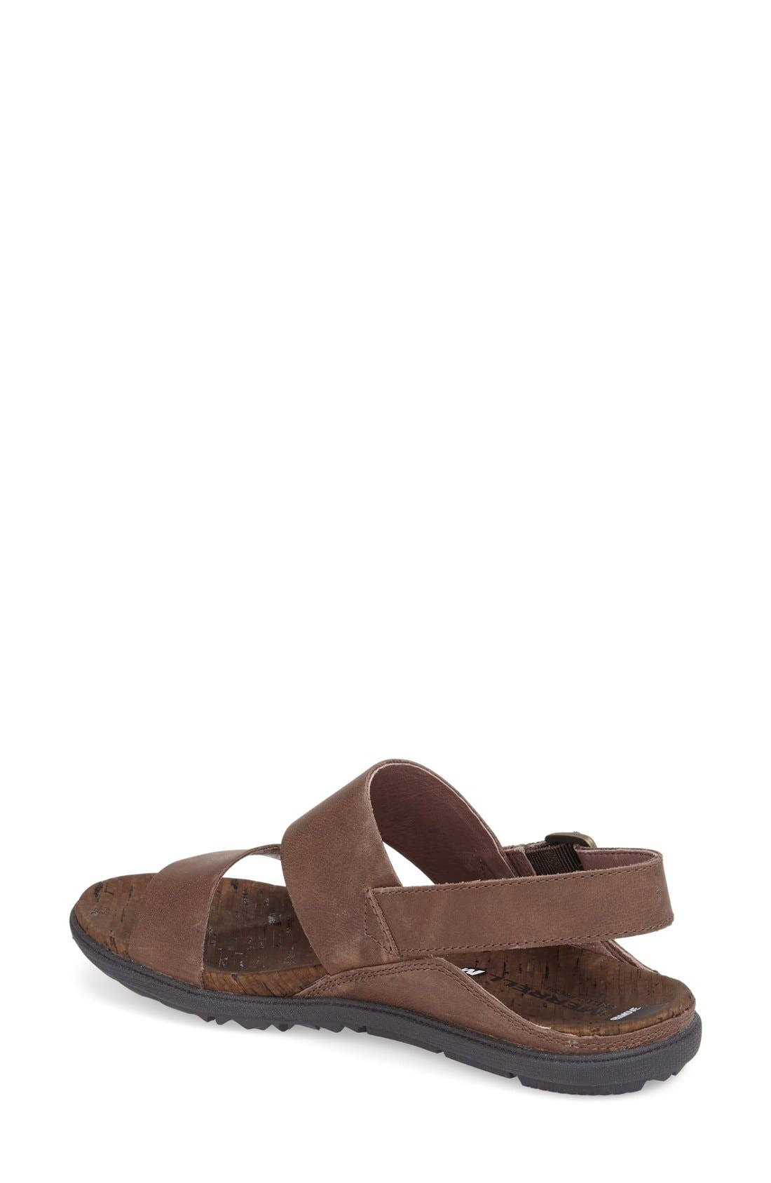 'Around Town' Slingback Sandal,                             Alternate thumbnail 2, color,                             Brown Leather