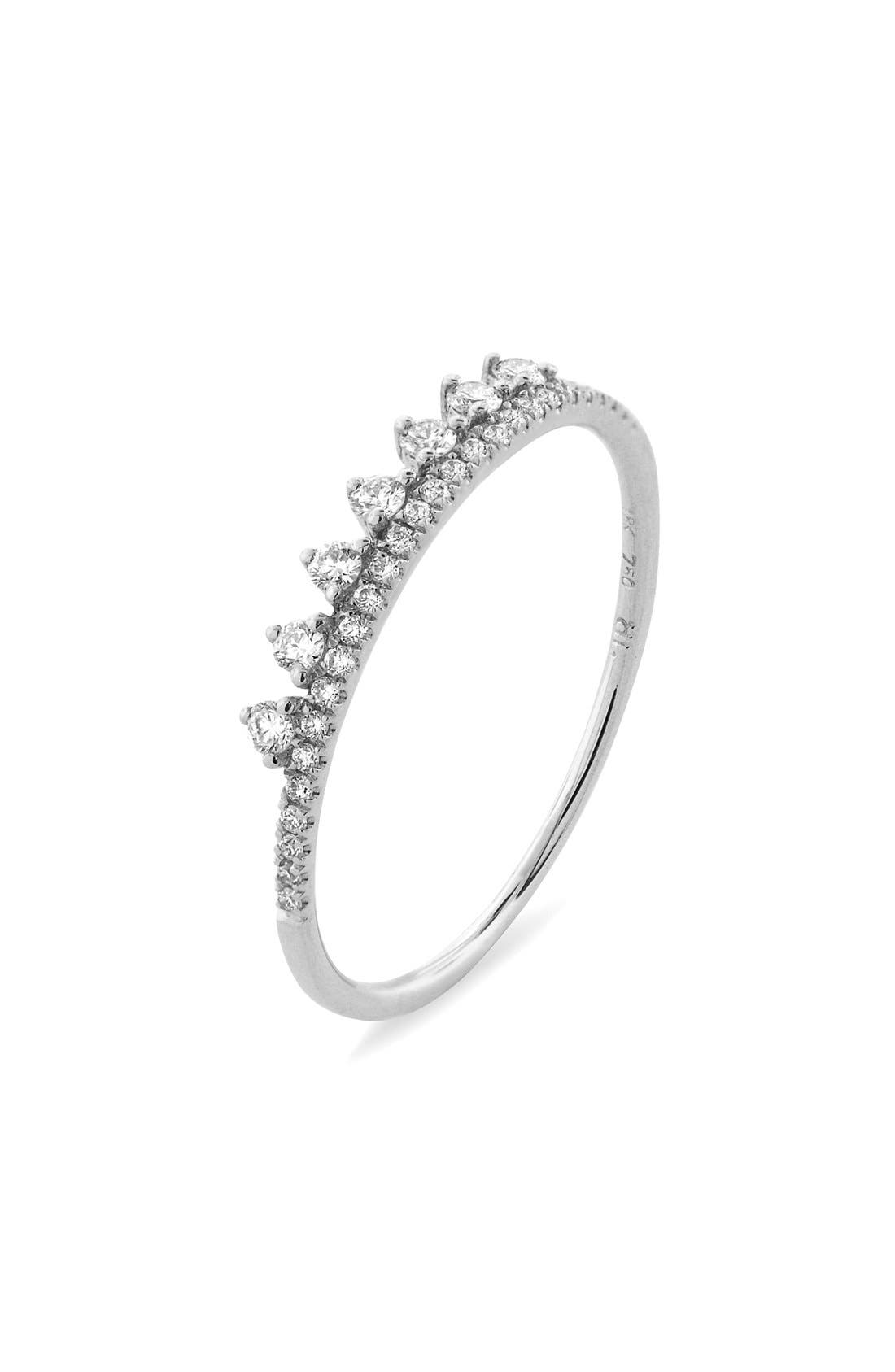 'Princess Crown' Stackable Diamond Ring,                         Main,                         color, White Gold