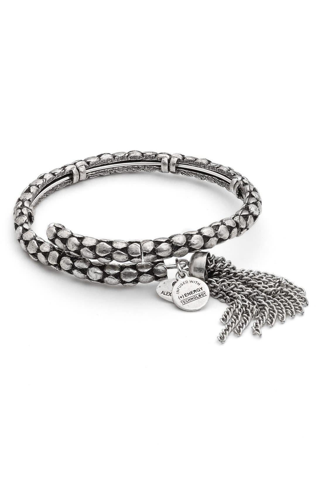 Tassel Coil Bracelet,                             Main thumbnail 1, color,                             Silver