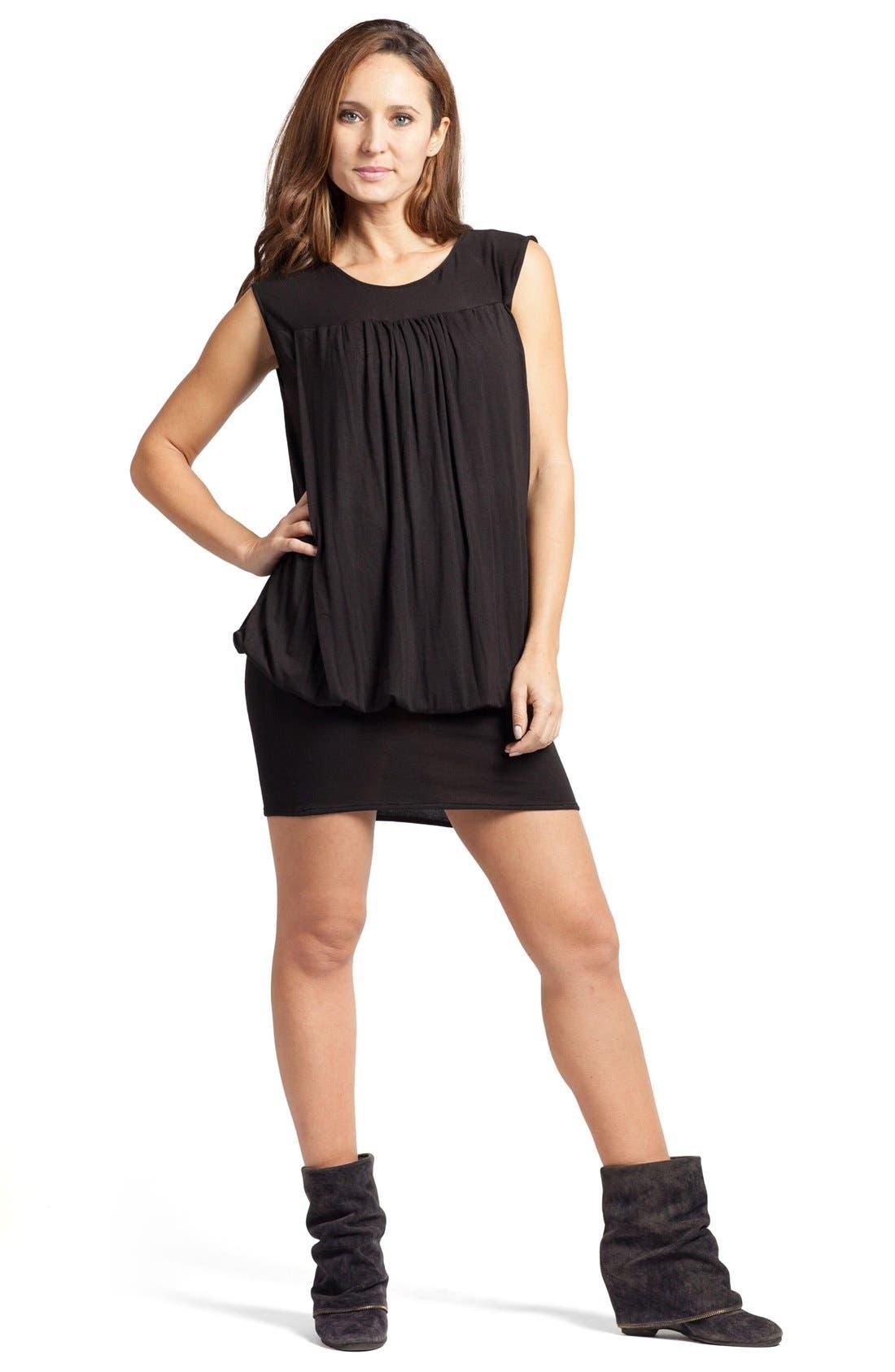 'The Little Black Tulip' Blouson Maternity/Nursing Dress,                             Alternate thumbnail 2, color,                             Black