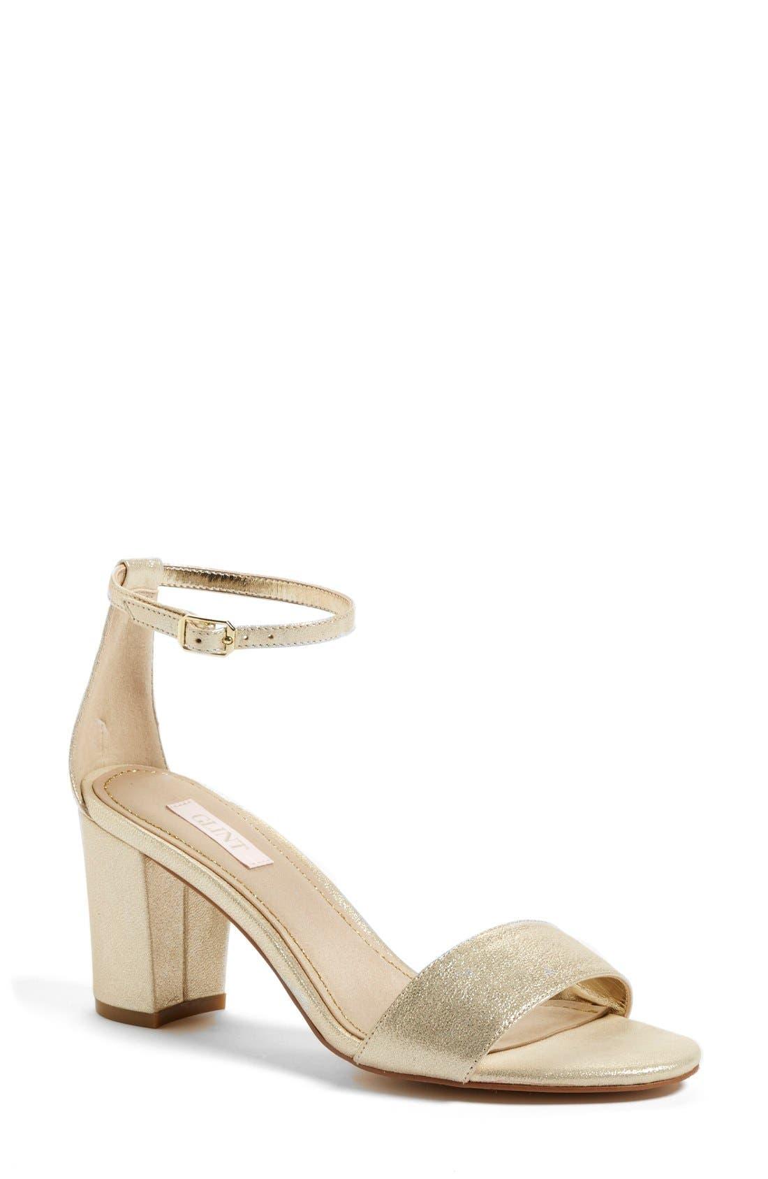 'Lana' Block Heel Ankle Strap Sandal,                             Main thumbnail 1, color,                             Platino Metallic Suede
