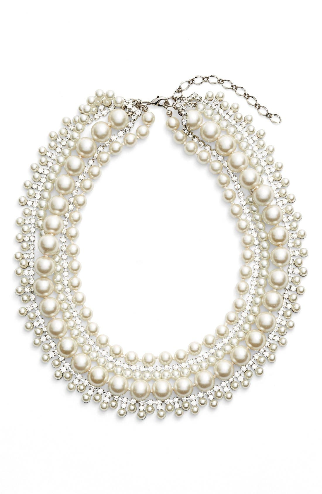 Crystal & Imitation Pearl Multristrand Necklace,                             Main thumbnail 1, color,                             Cream