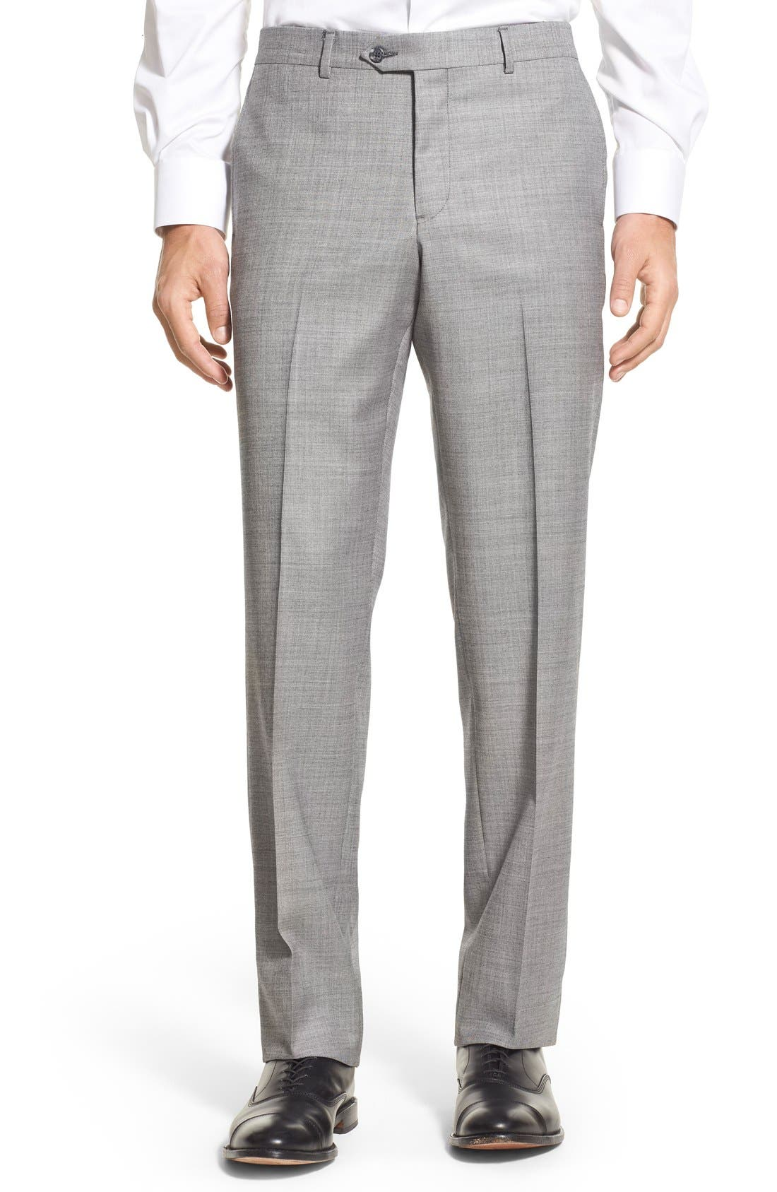 Flat Front Sharkskin Wool Trousers,                         Main,                         color, Pearl Grey