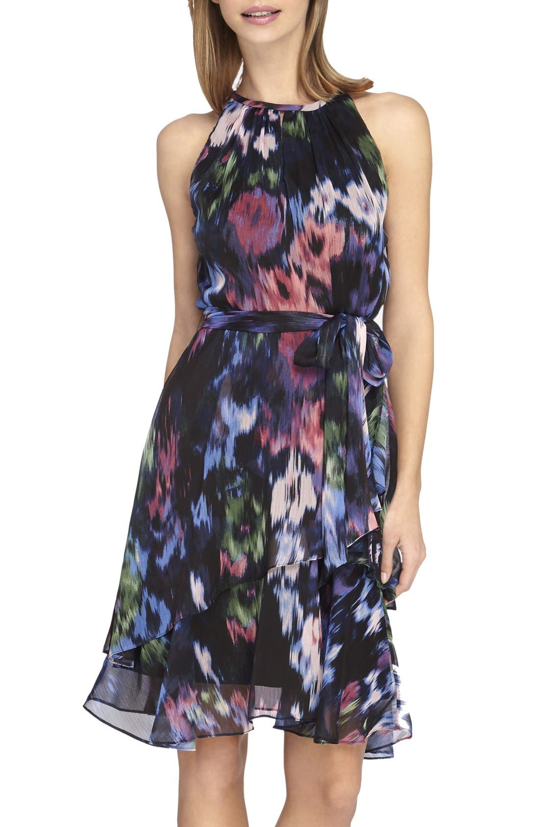 Print Chiffon Fit & Flare Dress,                         Main,                         color, Black/ Periwinkle/ Raspberry