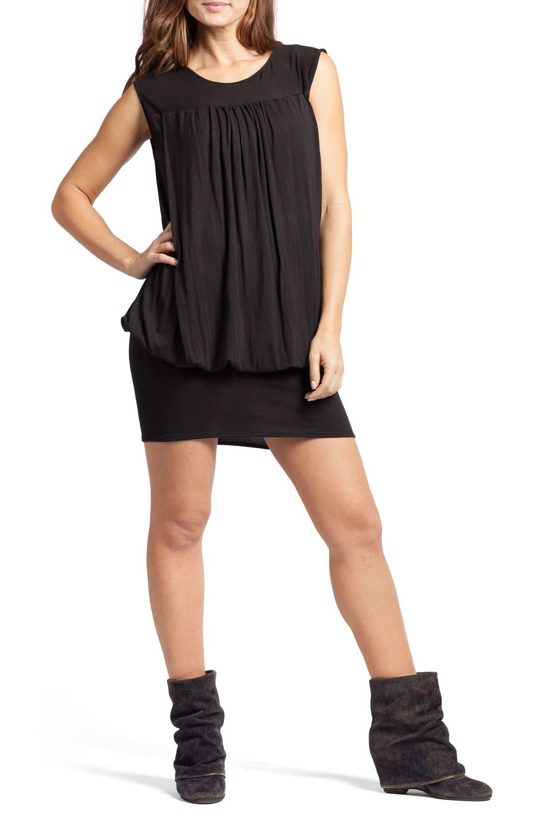 'The Little Black Tulip' Blouson Maternity/Nursing Dress,                             Main thumbnail 1, color,                             Black