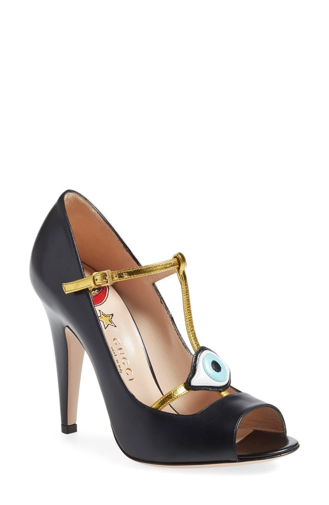 Main Image - Gucci 'Molina' T-Strap Peep Toe Pump (Women)