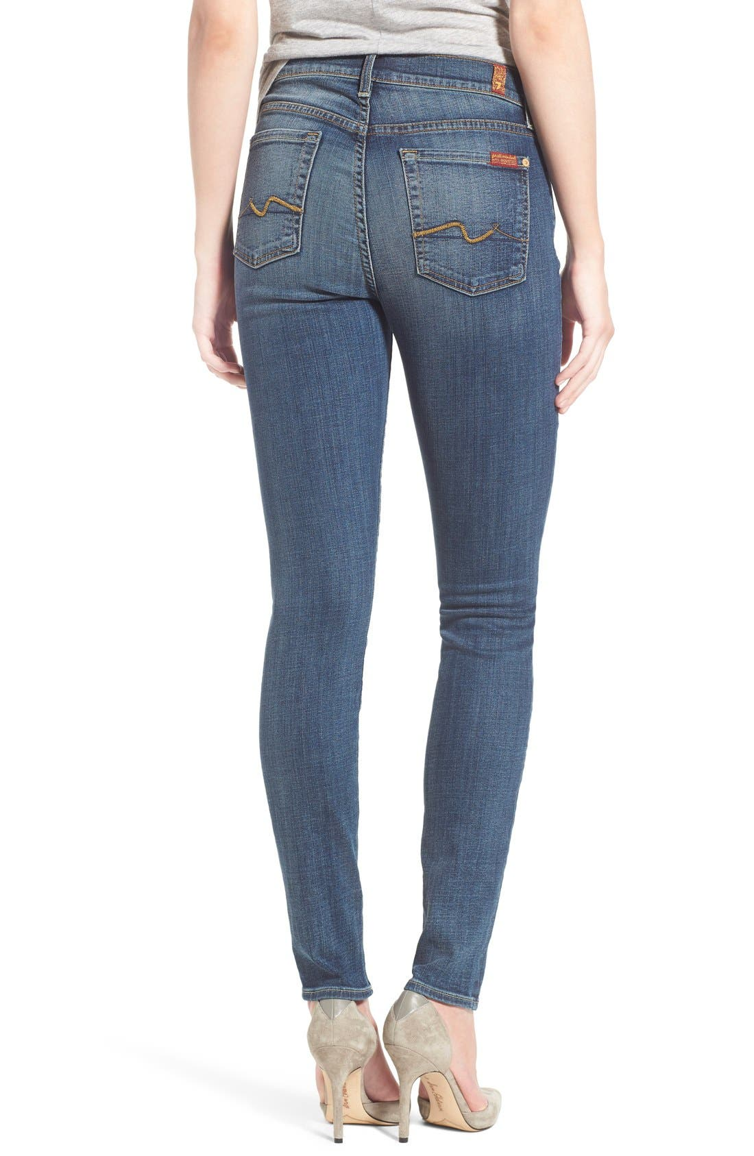 Alternate Image 3  - 7 For All Mankind® Destroyed Skinny Jeans (Stretch Blue Orchid)