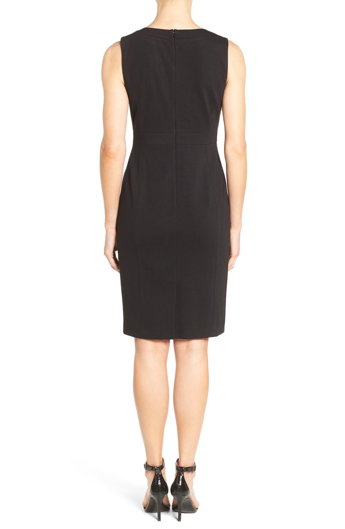 Alternate Image 2  - Classiques Entier® Sleeveless Italian Ponte V-Neck Sheath Dress (Regular & Petite)