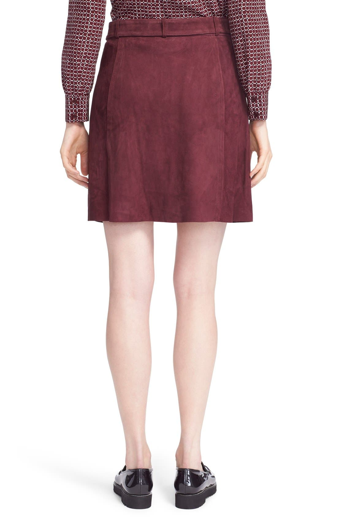 belted suede a-line skirt,                             Alternate thumbnail 2, color,                             Midnight Wine