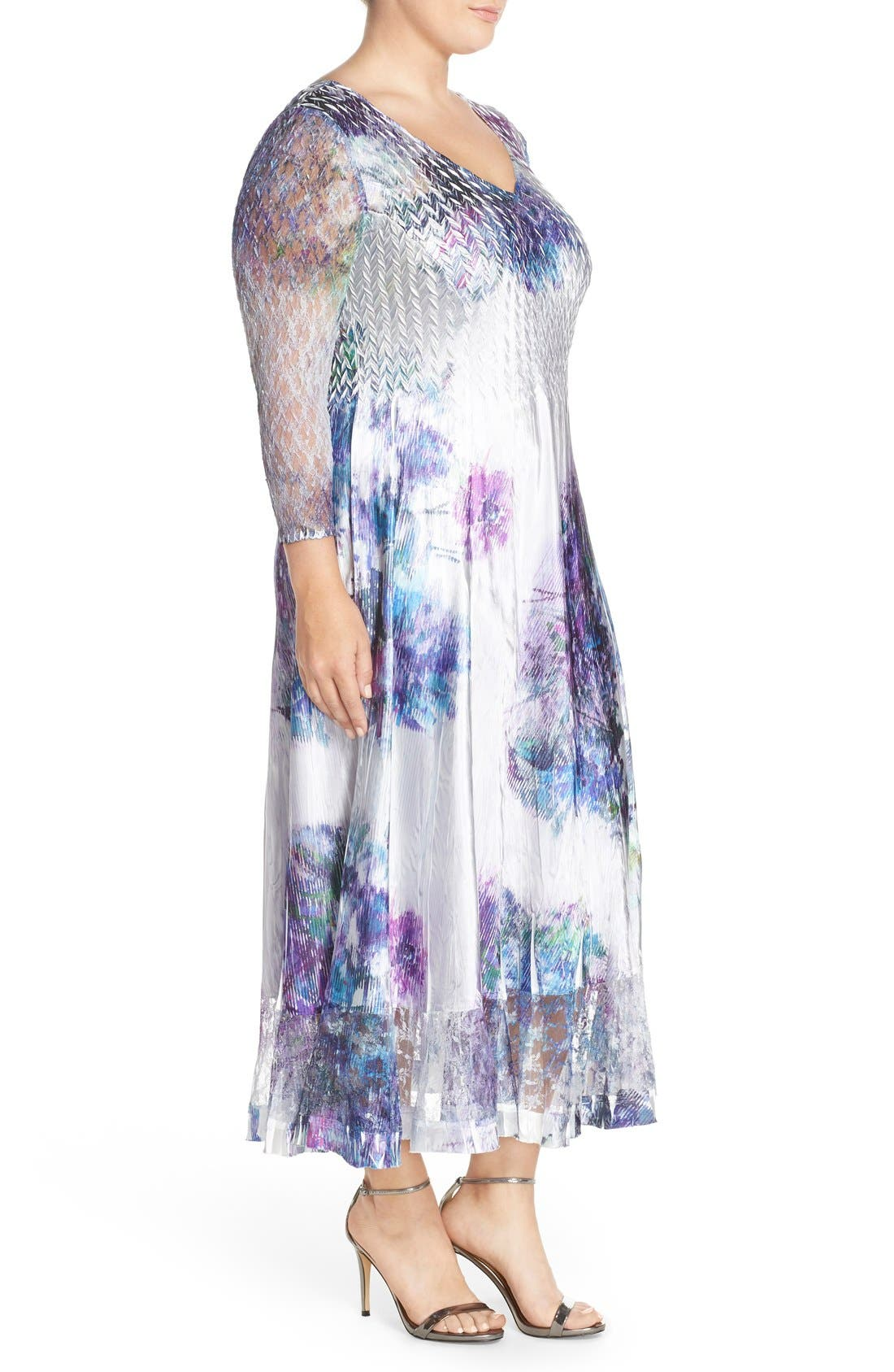 Alternate Image 4  - Komarov Print Charmeuse & Chiffon A-Line Long Dress (Plus Size)