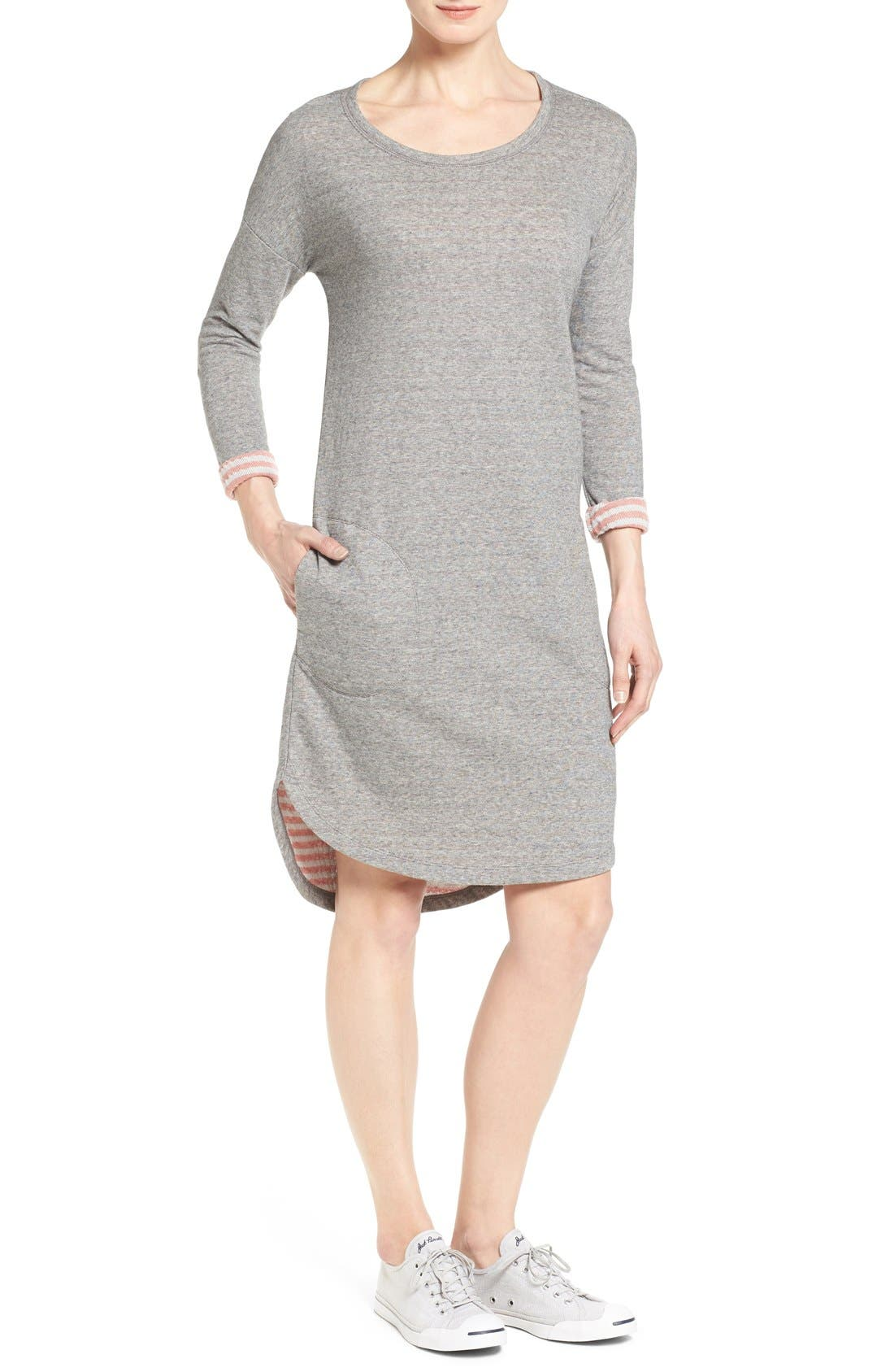 Contrast Cuff Double Knit Dress,                             Main thumbnail 1, color,                             Grey- Coral Pattern