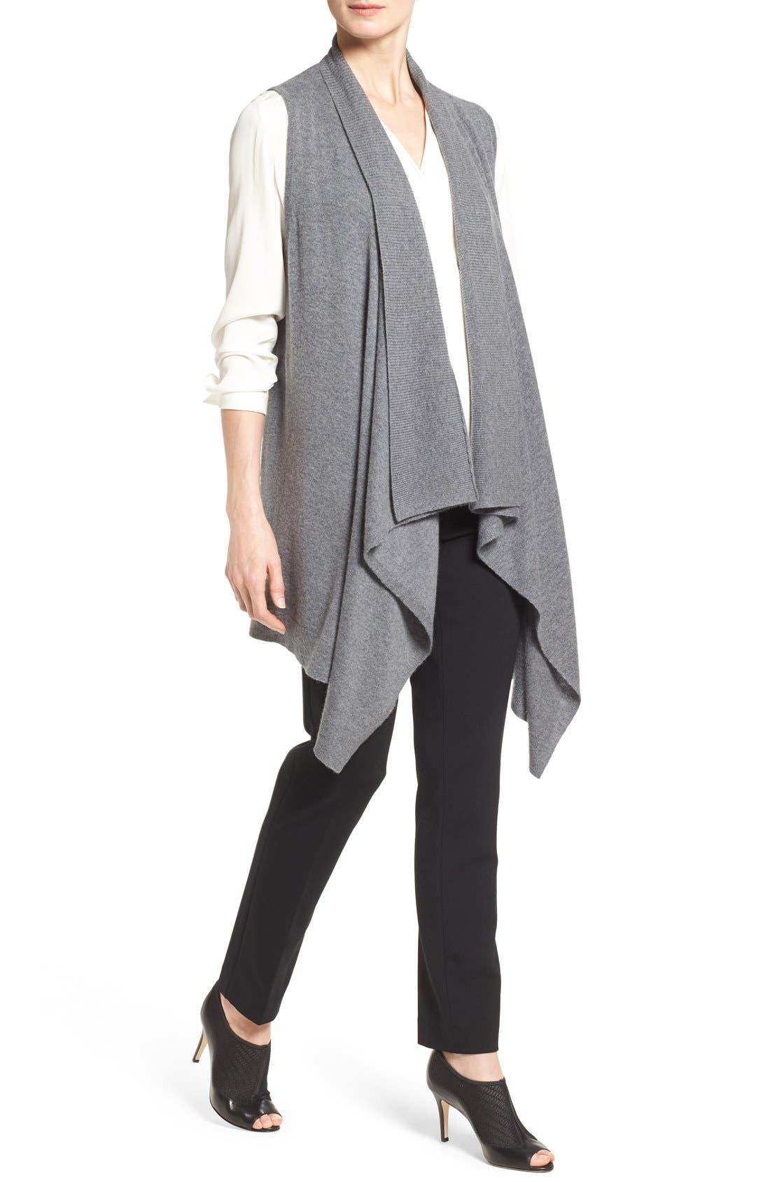 Wool & Cashmere Drape Front Sweater Vest,                             Alternate thumbnail 4, color,                             Heather Dark Grey