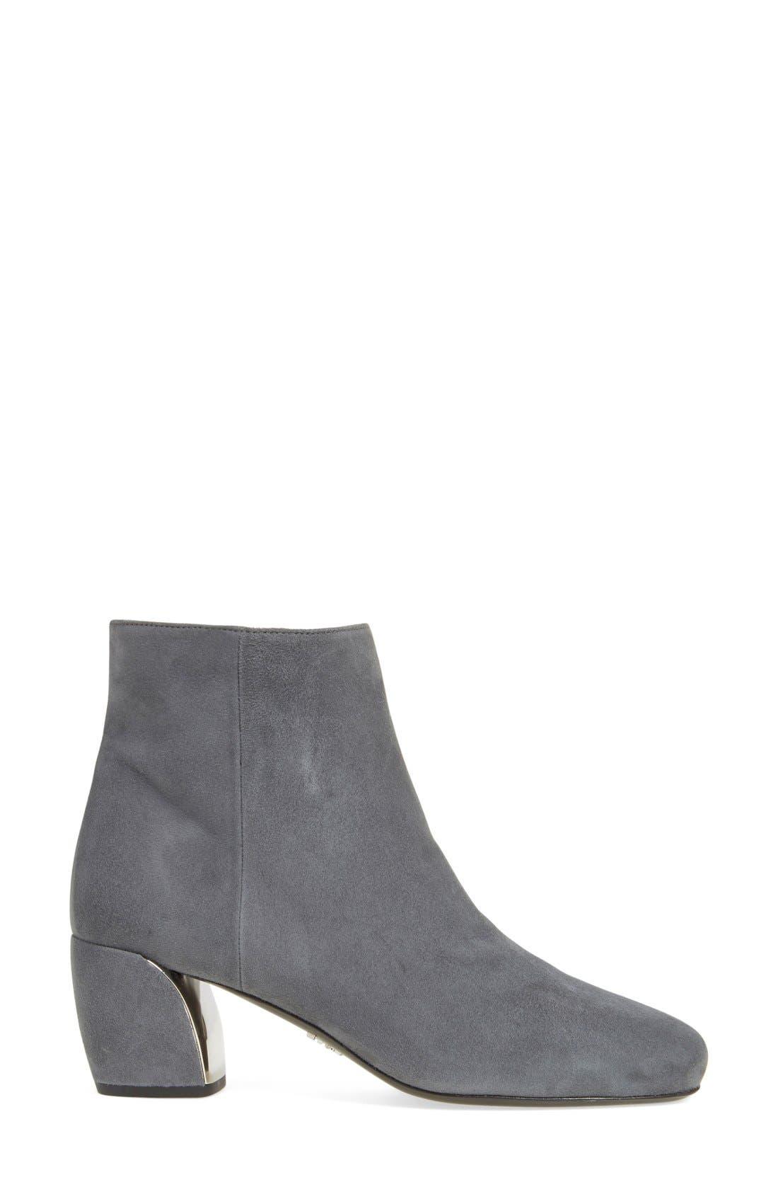 Block Heel Boot,                             Alternate thumbnail 4, color,                             Grey Suede