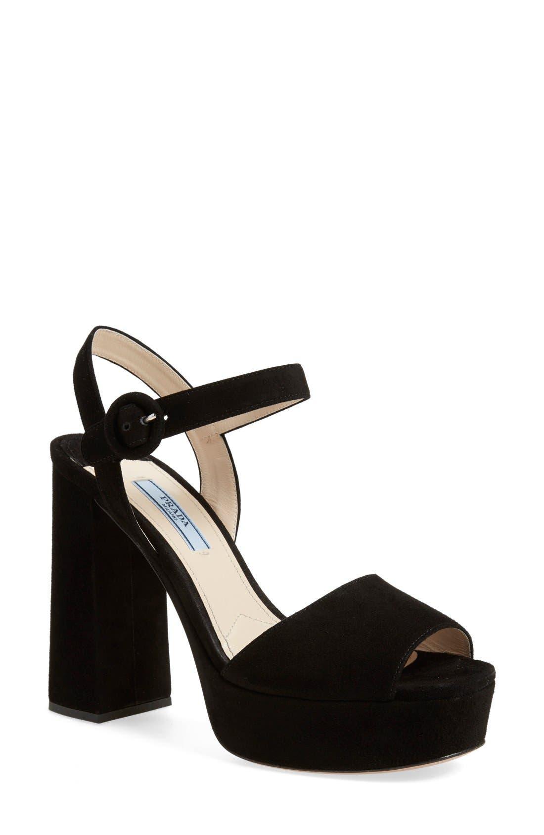 PRADA Block Heel Platform Sandal