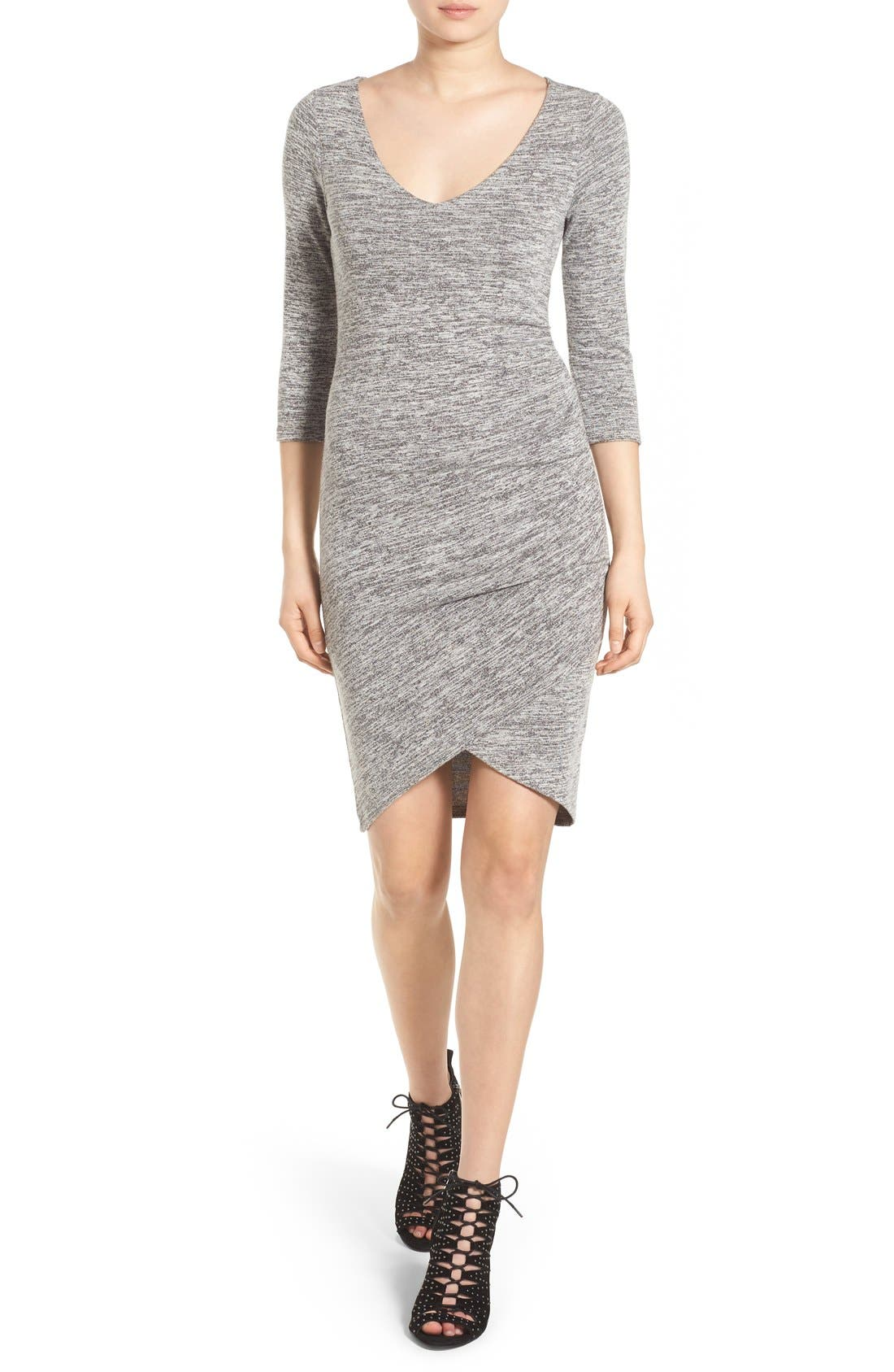 V-Neck Ruched Dress,                         Main,                         color, Grey Cloudy Heather