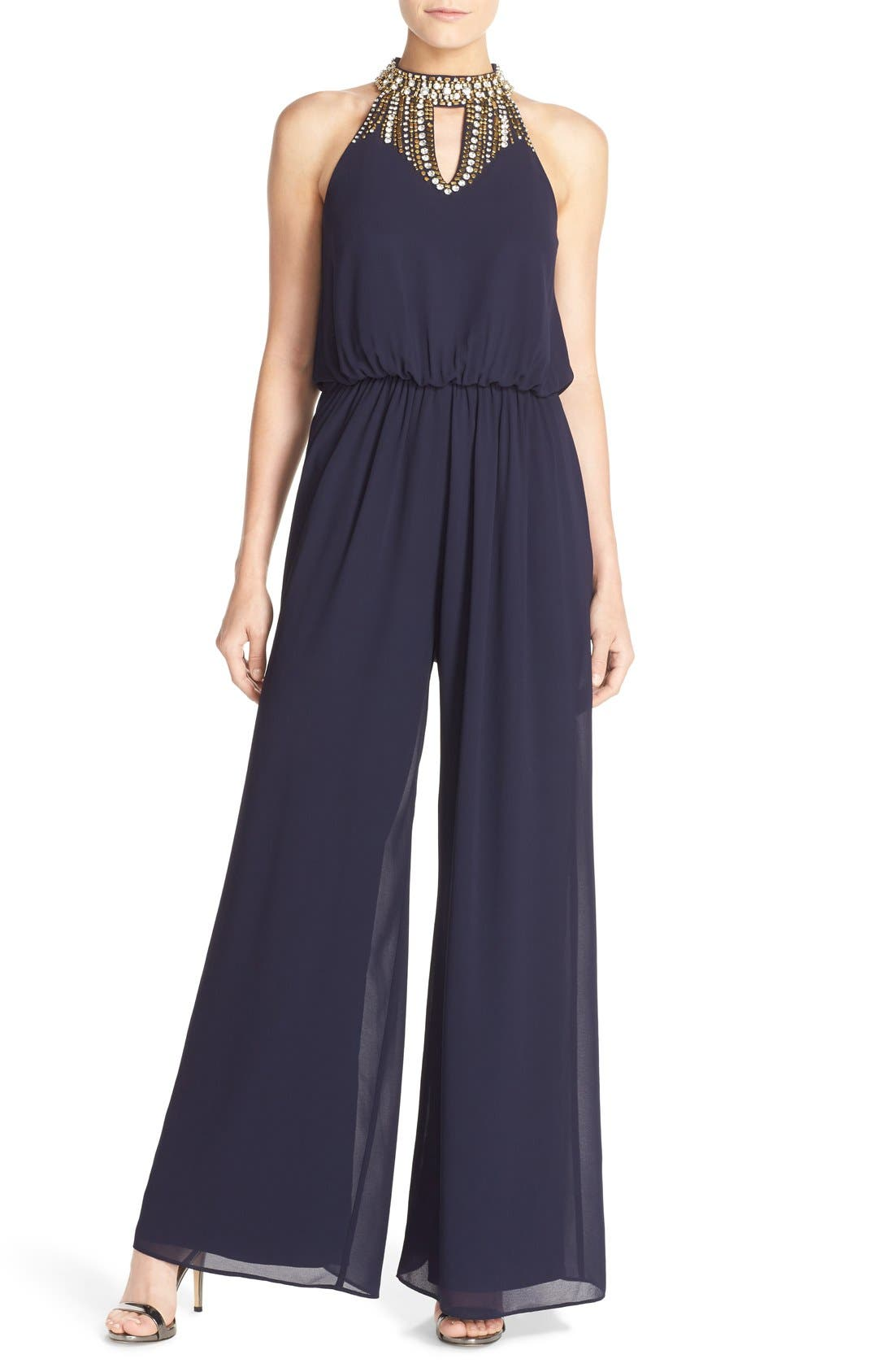 Main Image - Vince Camuto Beaded Neck Jumpsuit