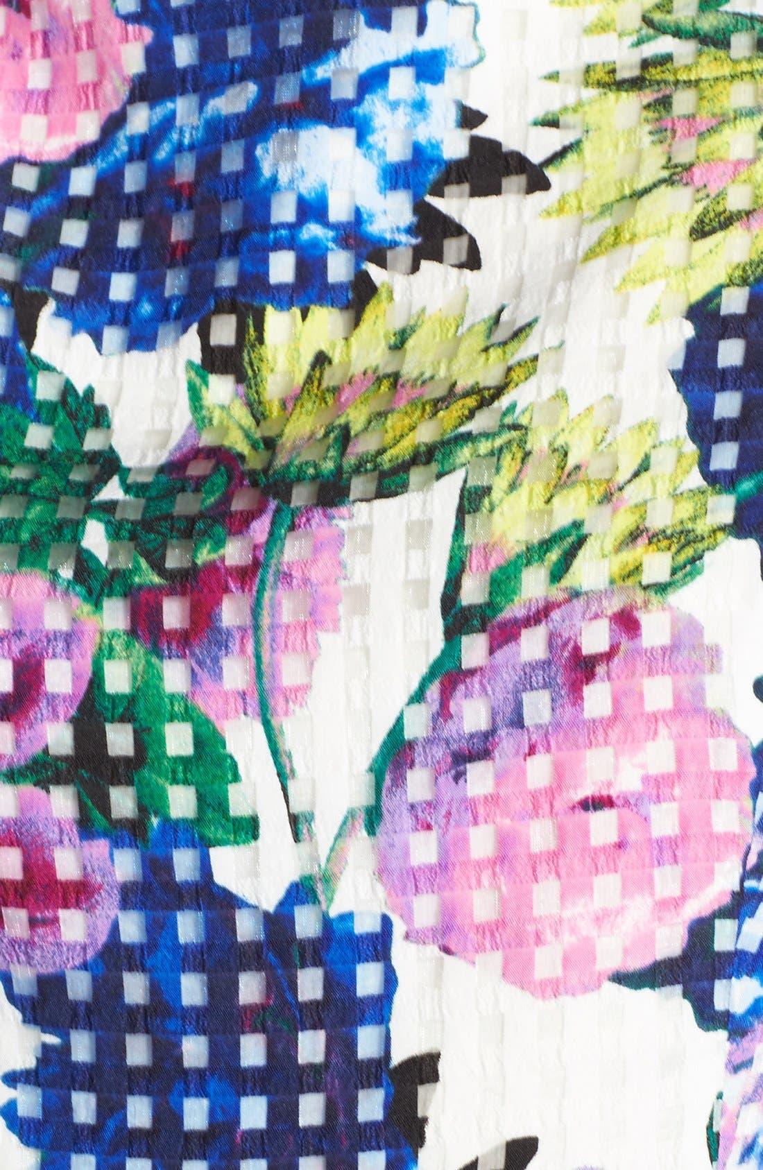 Alternate Image 6  - Eliza J Floral Check Organza Fit & Flare Dress