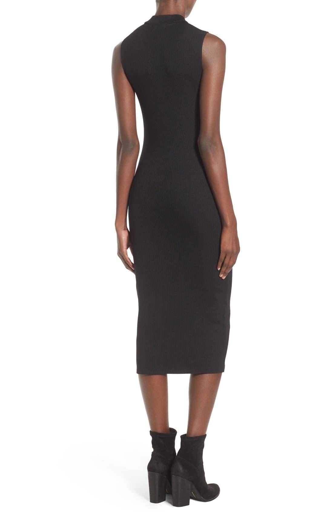 Mock Neck Midi Dress,                             Alternate thumbnail 2, color,                             Black