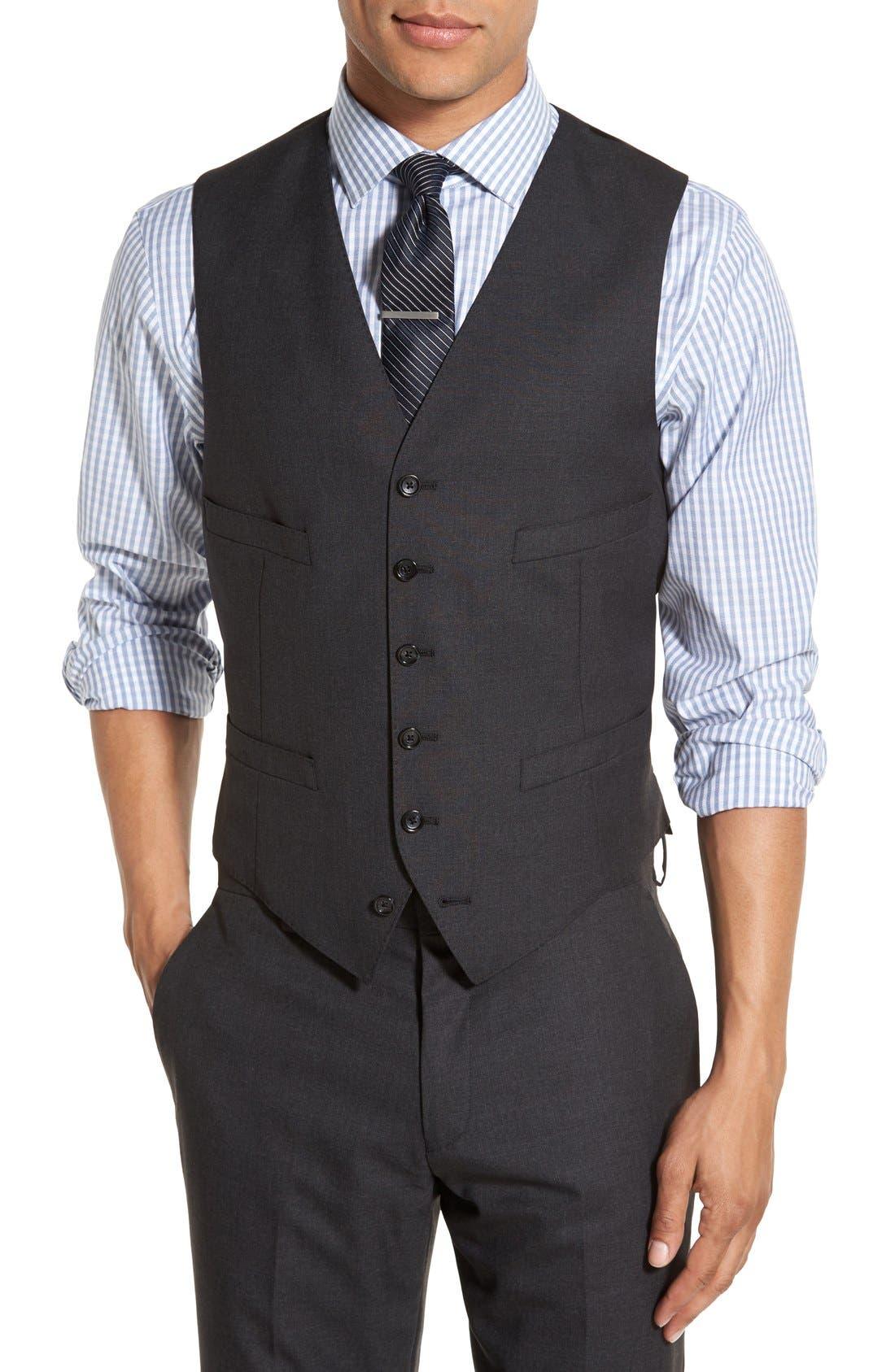 Ludlow Trim Fit Solid Wool Vest,                             Main thumbnail 1, color,                             Charcoal