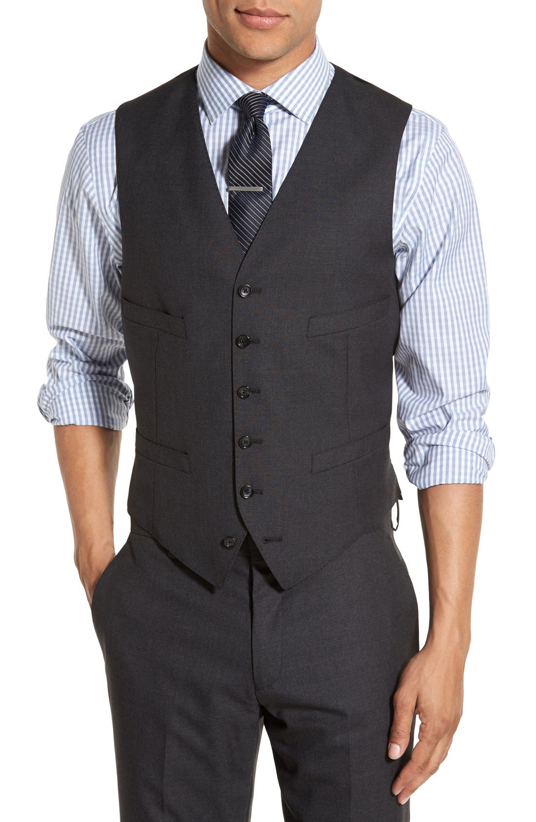 Ludlow Trim Fit Solid Wool Vest,                         Main,                         color, Charcoal