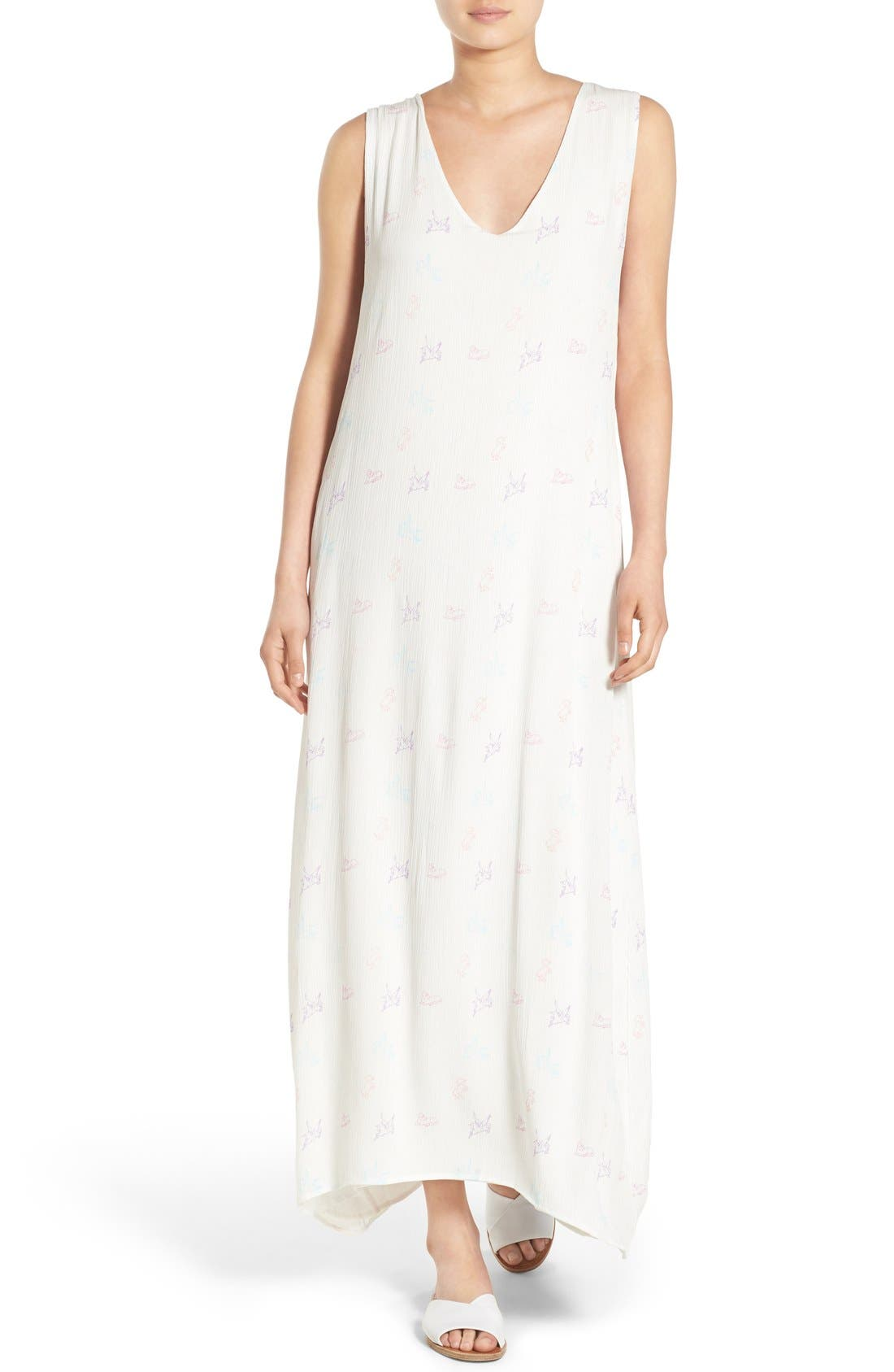 Main Image - Wildfox Unicorn Print Gauze Maxi Dress