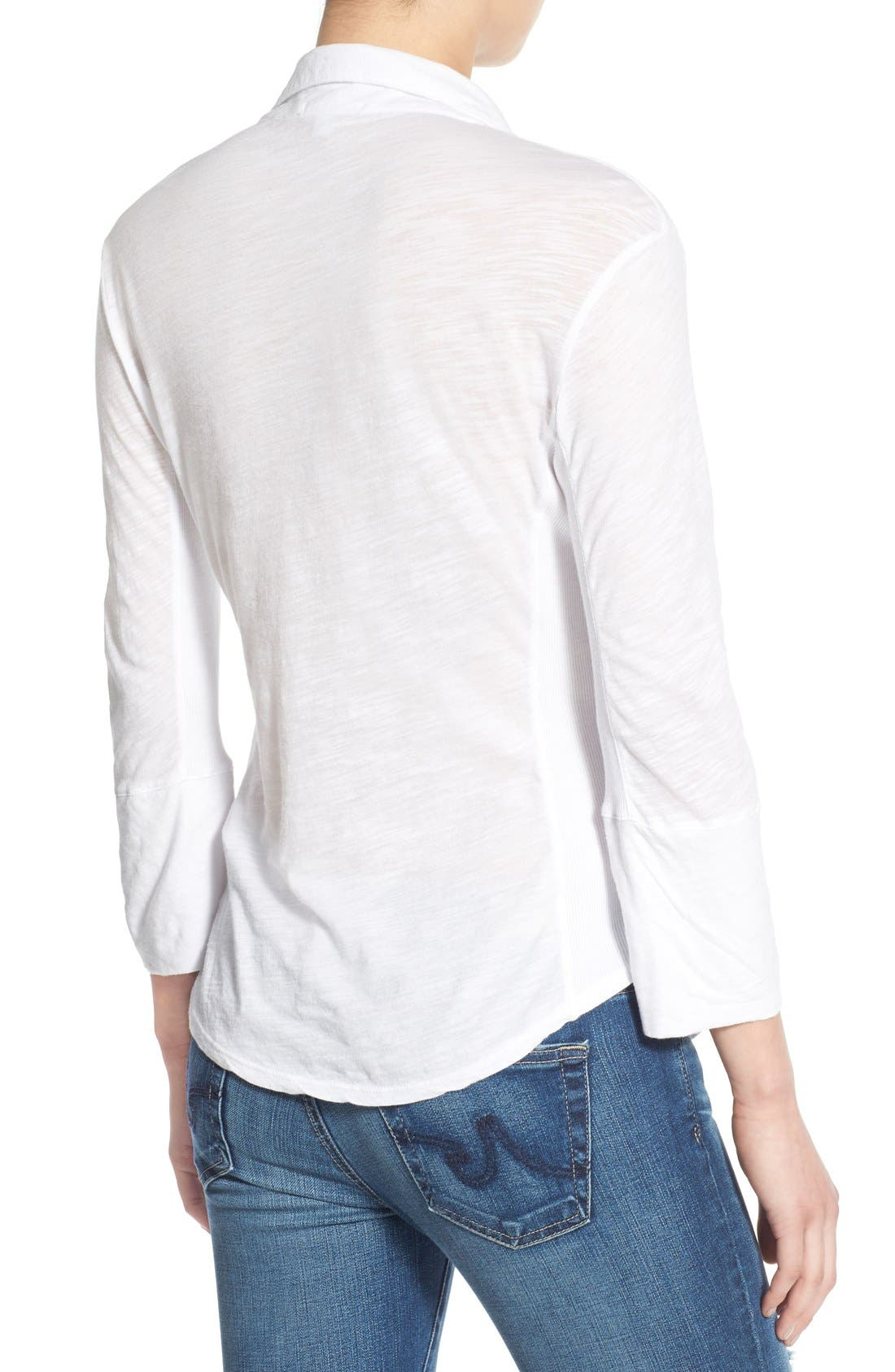 Alternate Image 2  - James Perse Sheer Slub Panel Shirt