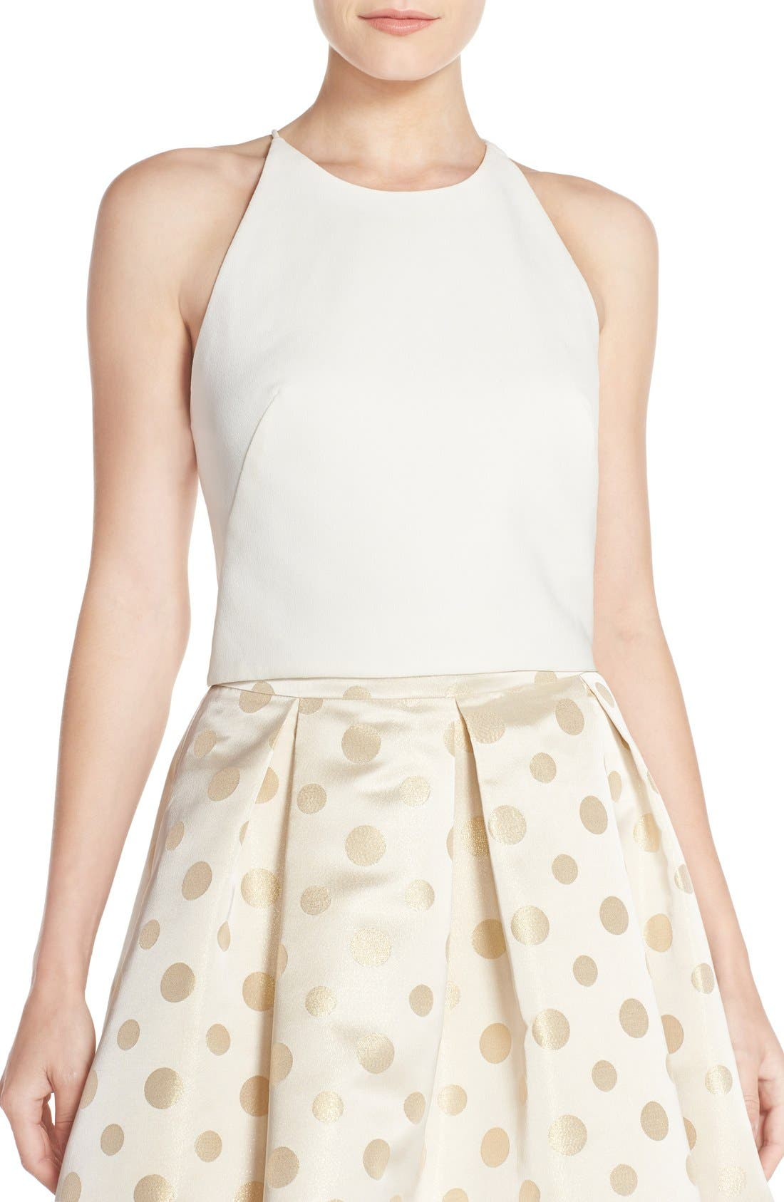 Cross Back Crepe Crop Top,                             Main thumbnail 1, color,                             Ivory