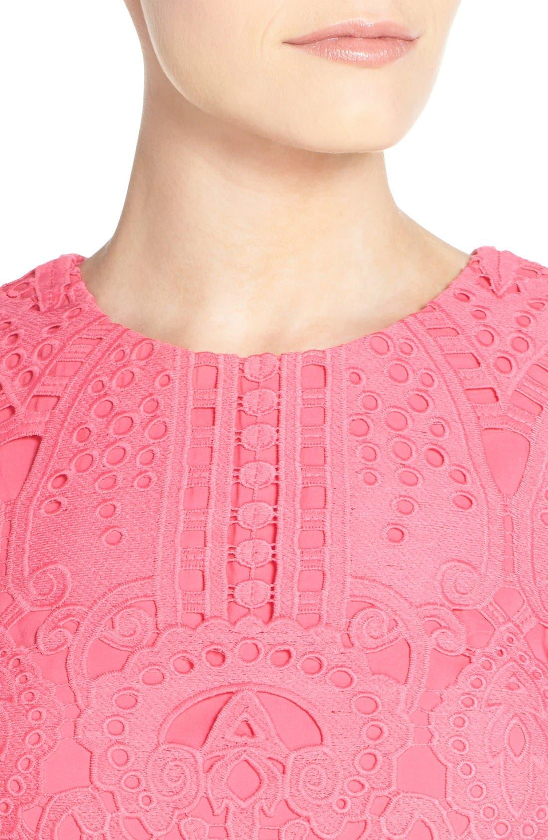 Lace Shift Dress,                             Alternate thumbnail 5, color,                             Pink