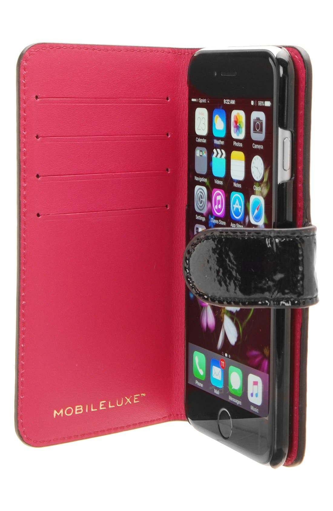 iPhone 6/6s Wallet Case,                             Alternate thumbnail 4, color,                             Patent Black/ Fuchsia
