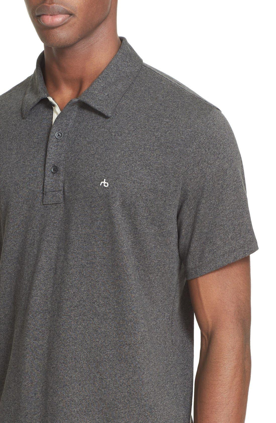Standard Issue Regular Fit Slub Cotton Polo,                             Alternate thumbnail 4, color,                             Pewter