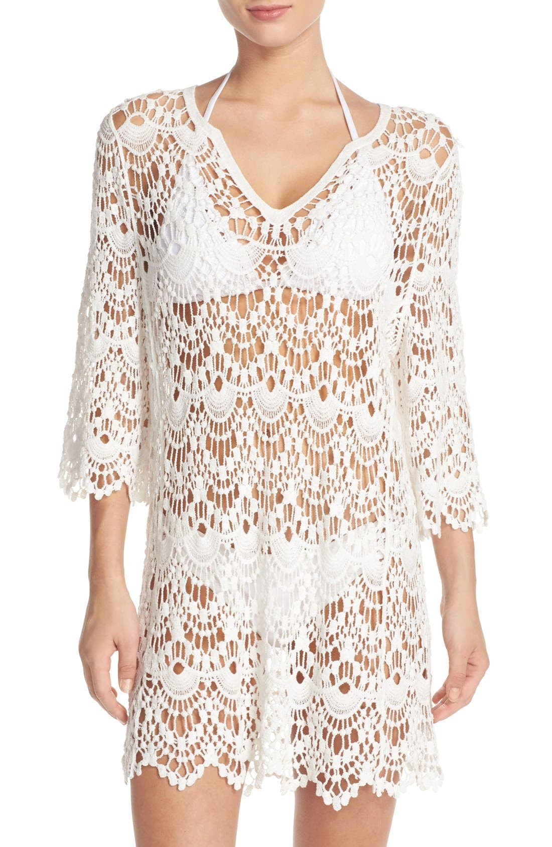 Crochet Cover-Up Tunic,                             Main thumbnail 1, color,                             White