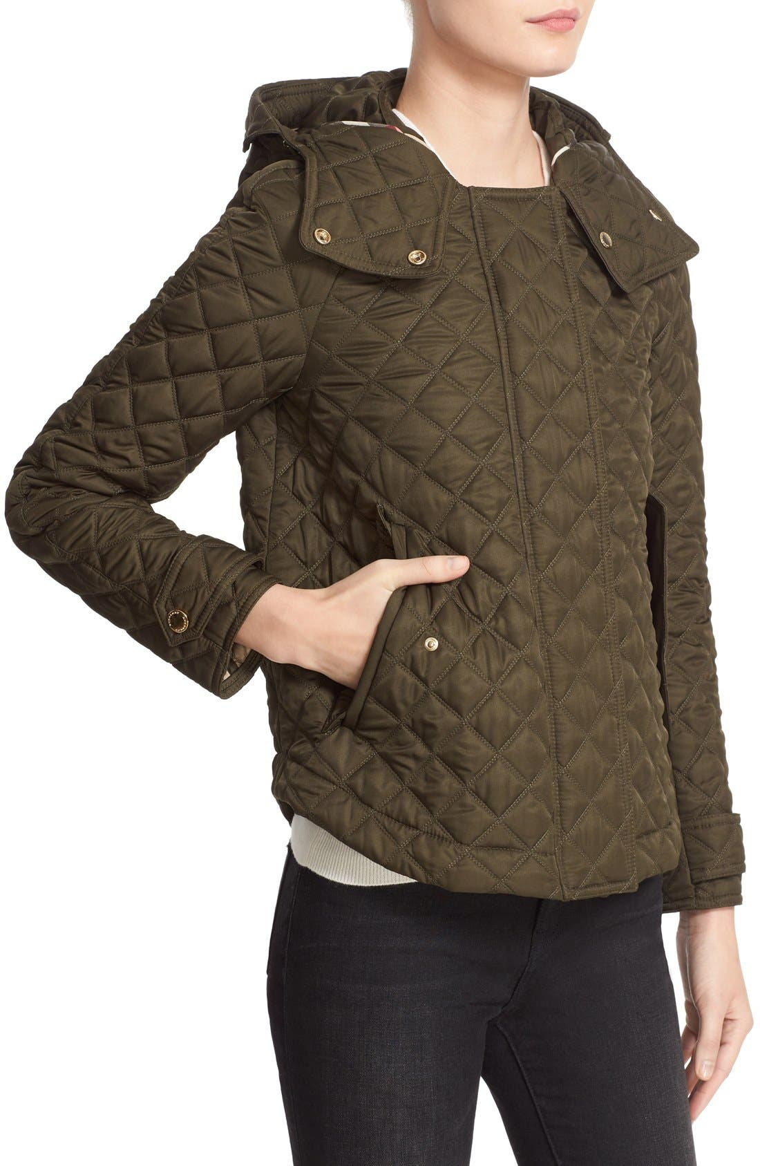 'Leightonbury' Quilted Hooded Jacket,                             Alternate thumbnail 7, color,                             Dark Olive
