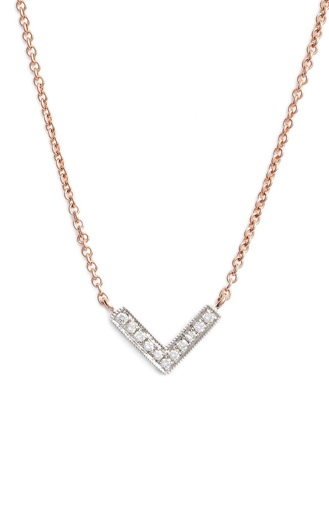 'Sylvie Rose' Diamond V Pendant Necklace,                         Main,                         color, Rose Gold