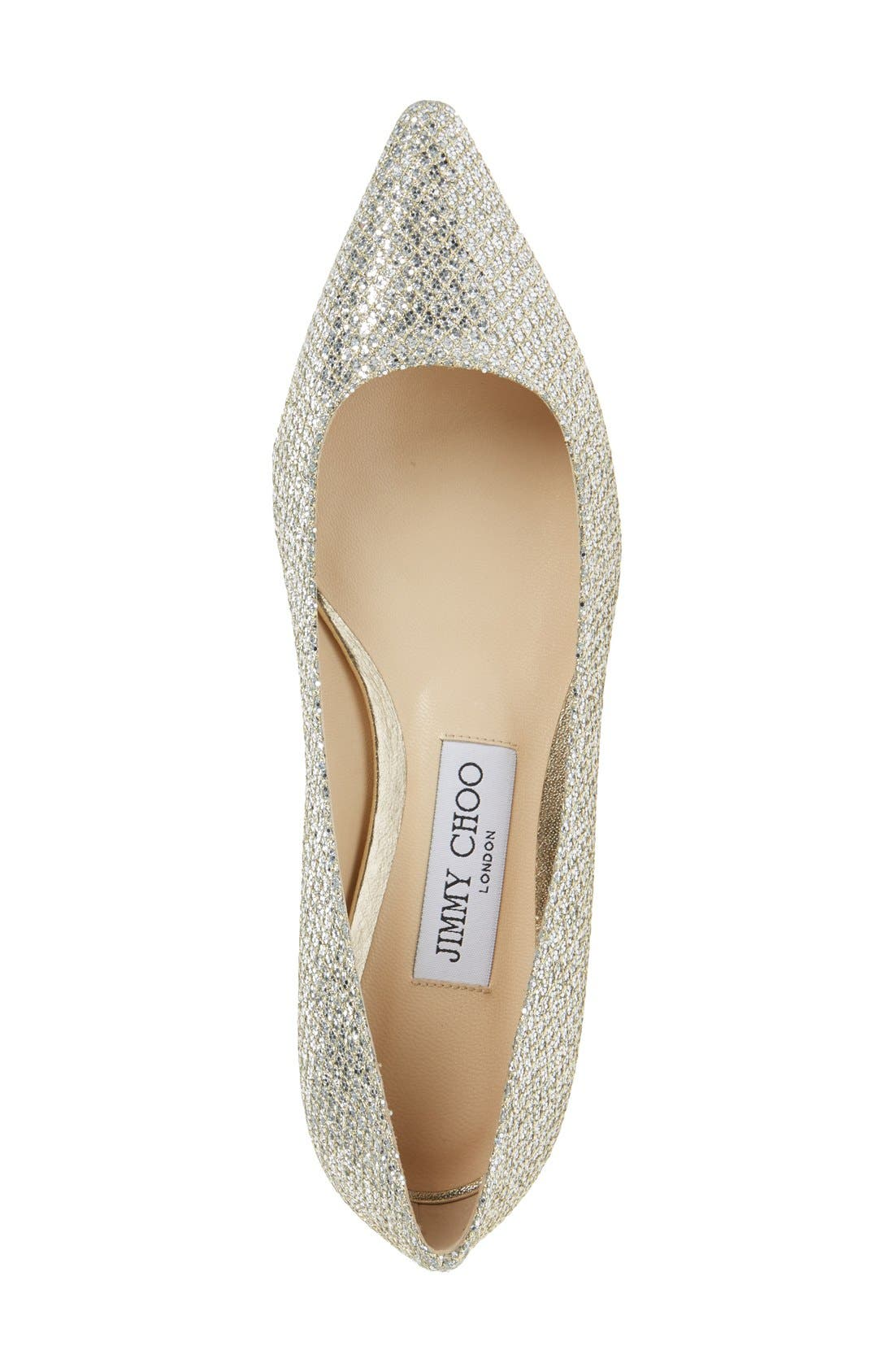 'Romy' Pointy Toe Flat,                             Alternate thumbnail 3, color,                             Champagne