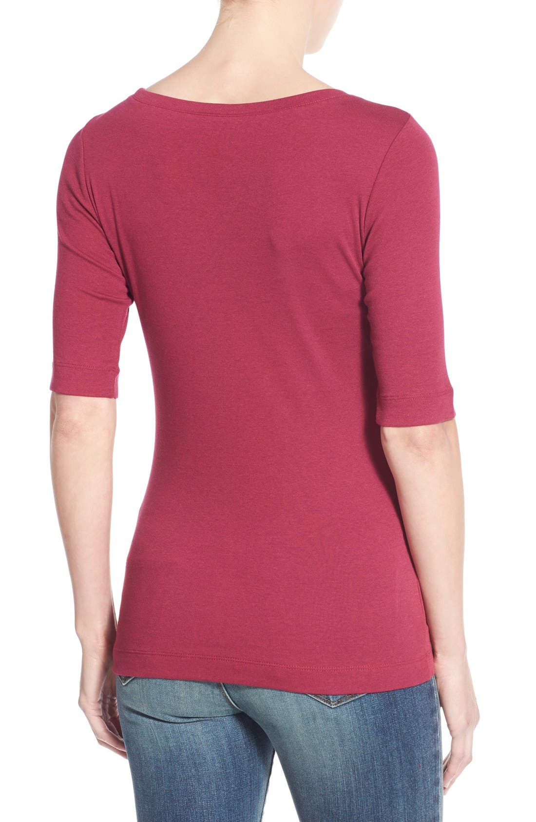 Ballet Neck Cotton & Modal Knit Elbow Sleeve Tee,                             Alternate thumbnail 2, color,                             Purple Fuchsia