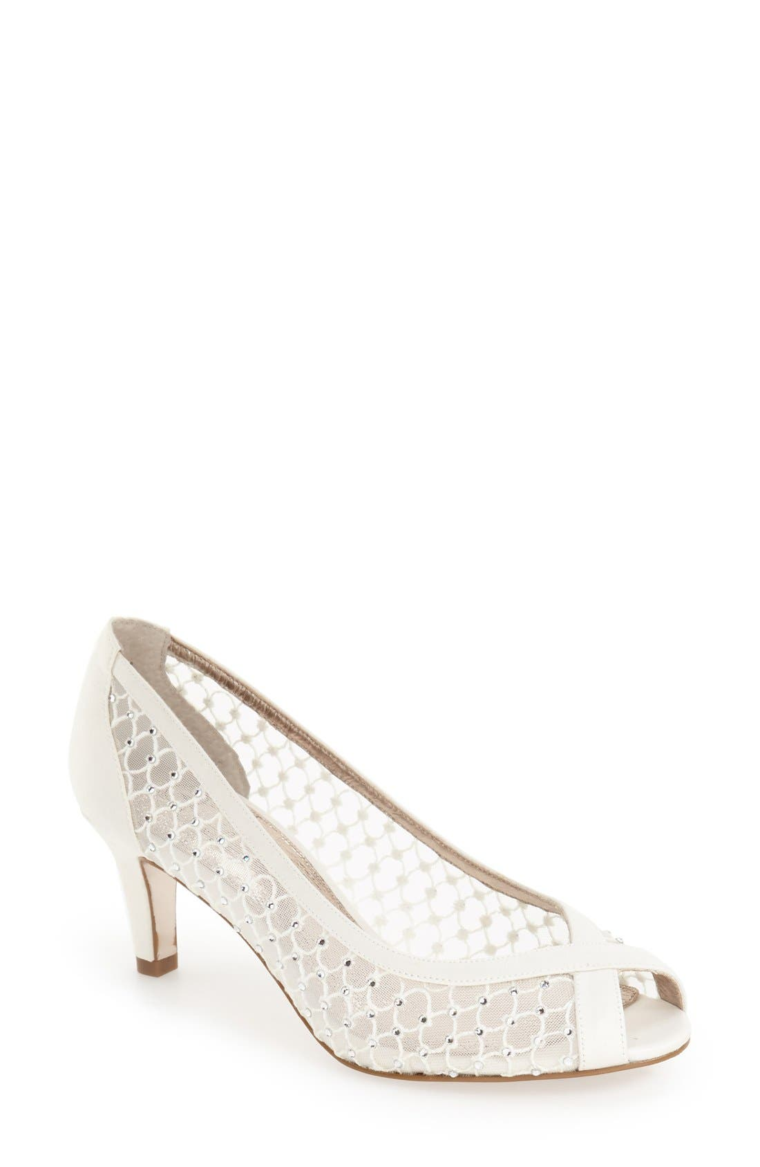 'Zandra' Crystal Embellished Peep Toe Pump,                             Main thumbnail 1, color,                             Ivory Faille