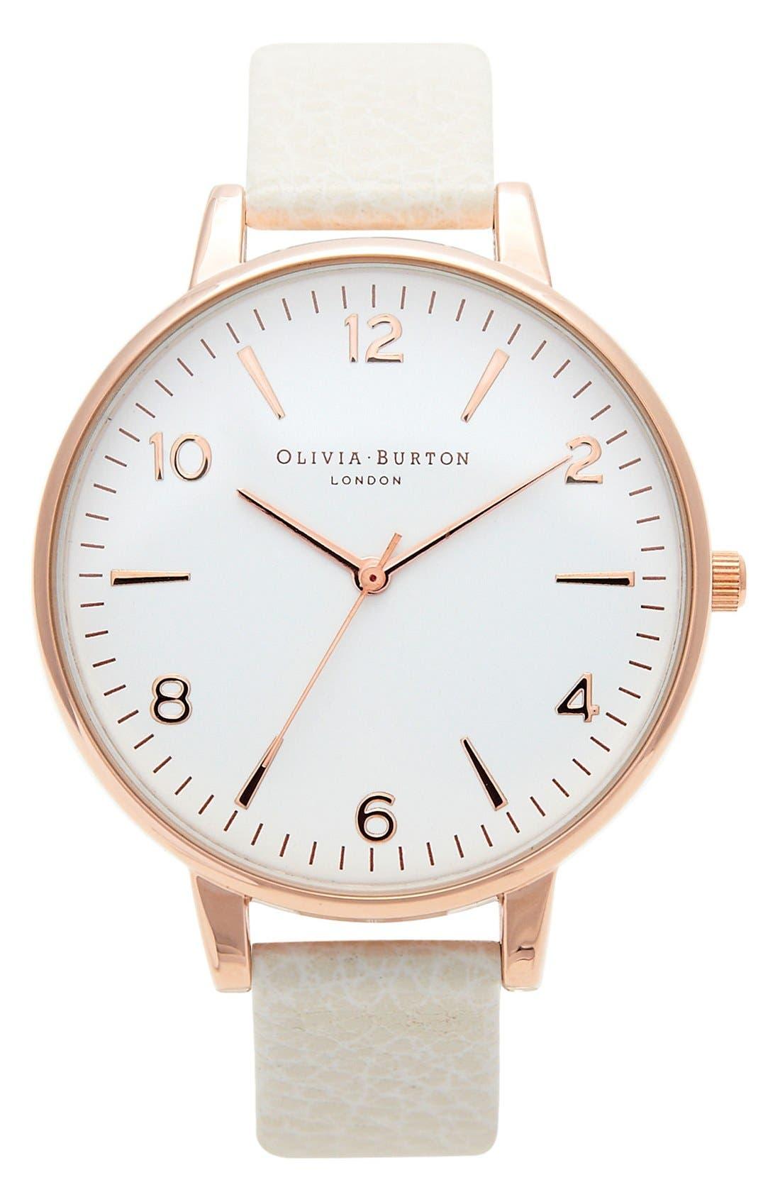 Alternate Image 1 Selected - Olivia Burton 'Modern Vintage' Leather Strap Watch, 38mm