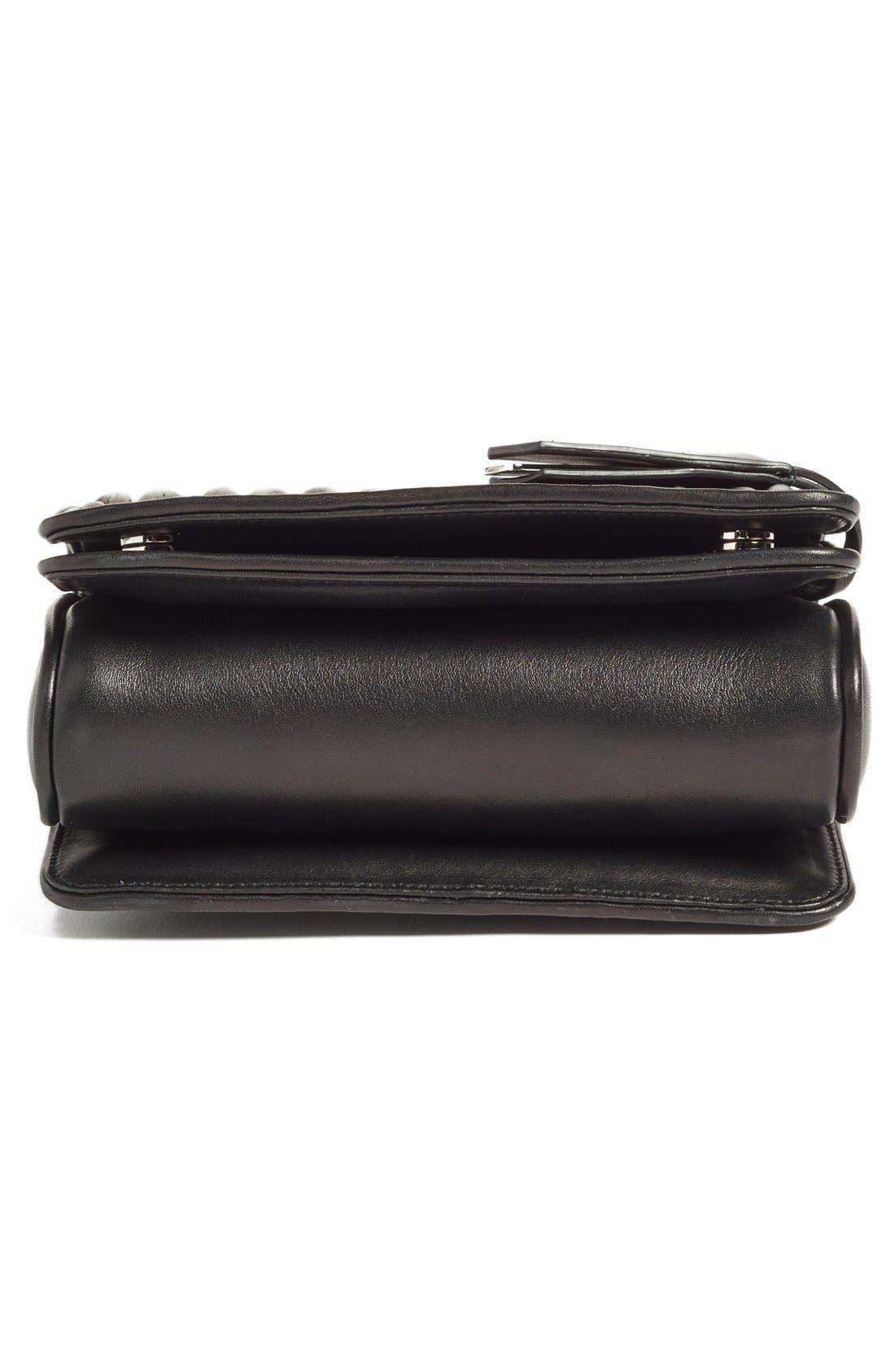 Small Matelassé Leather Shoulder Bag,                             Alternate thumbnail 6, color,                             Nero