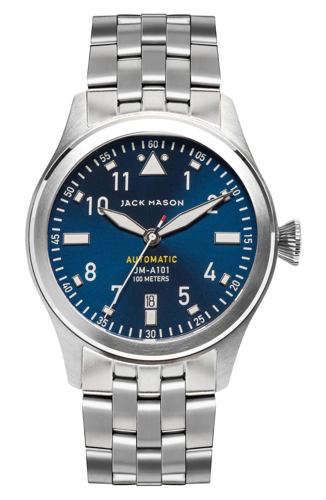 Automatic Bracelet Watch, 42mm,                             Main thumbnail 1, color,                             Silver/ Navy